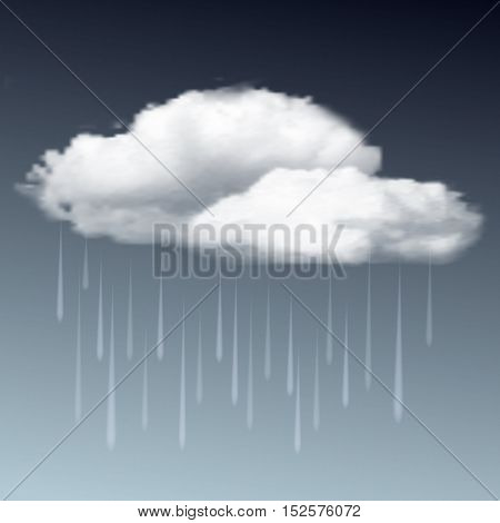 Weather icon - raincloud with raindrops in the dark sky. Vector illustration