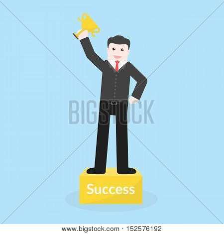 Success Concept By Business Man Holding Trophy And Stood On The Podium