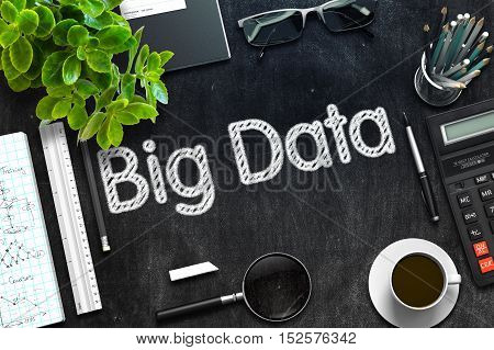 Big Data - Text on Black Chalkboard.3d Rendering. Toned Illustration.
