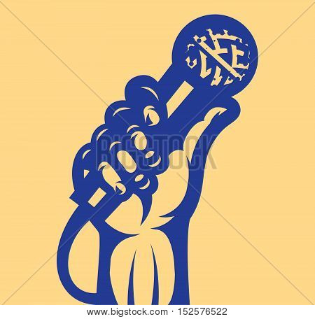 Vector illustration on the theme of vocals with microphone and hand