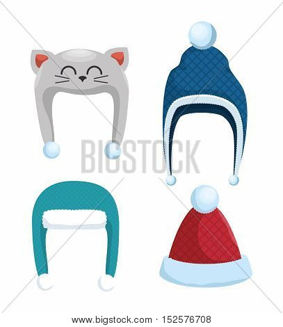 winter holidays hat isolated icon vector illustration design