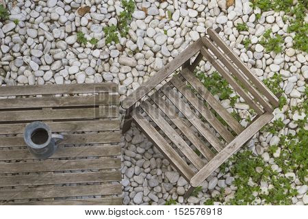 wooden chair and table in the garden or on the terrace