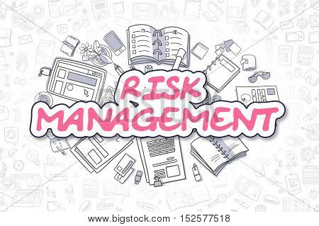 Business Illustration of Risk Management. Doodle Magenta Word Hand Drawn Doodle Design Elements. Risk Management Concept.