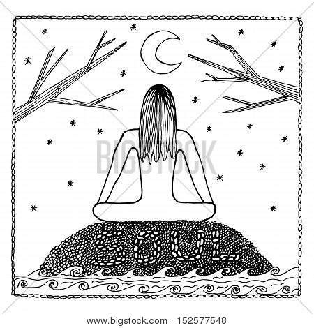 Woman in Yoga lotus position for meditation. For the logo yoga studio, postcards, and adult coloring book.