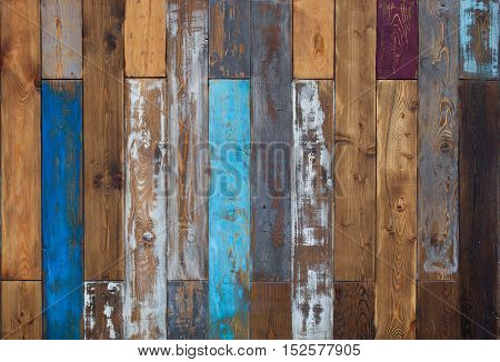 Vintage colorful old wooden wall background texture