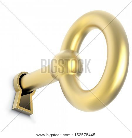 Gold key inserted in door keyhole vector illustration. Unlocking the way to the success or wealth concept image.