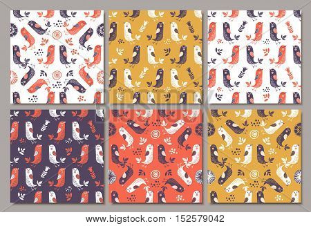 Birds seamless pattern. Colorful texture. Vector patterns