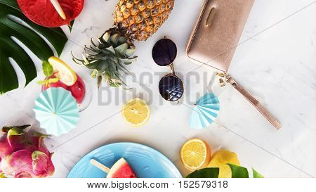 Summer Tropical Fresh Fruits Concept