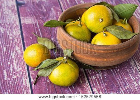 Ripe tangerines with sprigs in a wooden bowl and on an old wooden table.