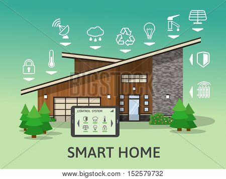 Modern Country Big Smart Home. Flat design style concept, technology system with centralized control. Vector illustration.