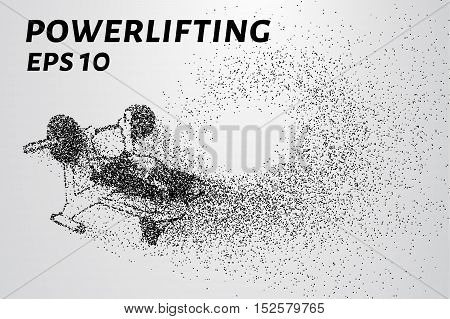 Powerlifting from the particles. Powerlifting of dots and circles. Powerlifting breaks down into smaller molecules.