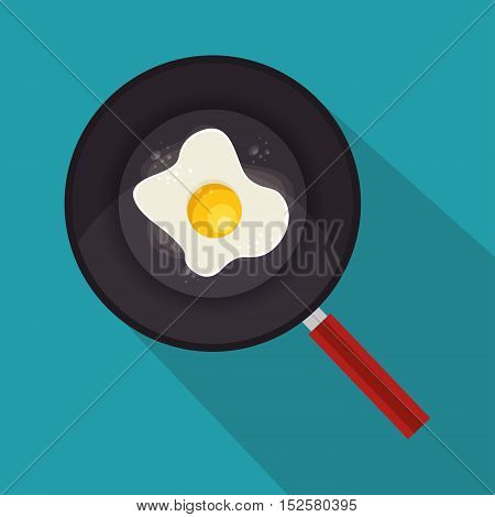 egg fried with pan icon vector illustration design