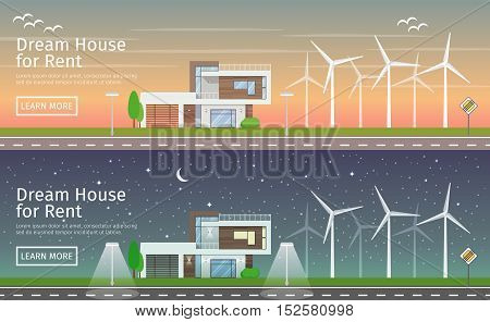 Modern Houses with alternative Eco Green Energy, sunset and night, flat web banners set. Wind Turbines. Vector illustration.
