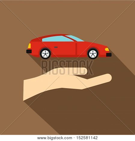 Hand and red car icon. Flat illustration of hand and car vector icon for web isolated on coffee background