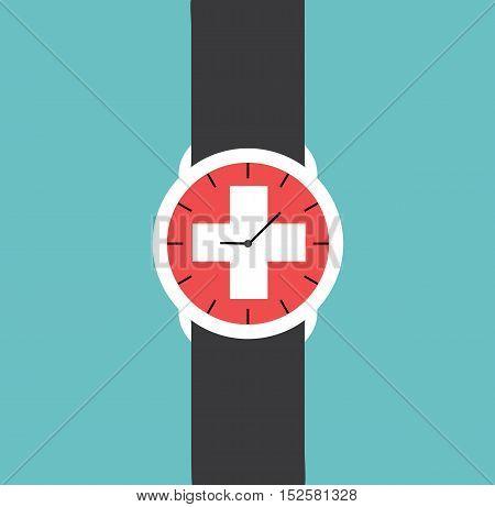 Watch Clock Swiss Flag Vector Flat Illustration Stock -