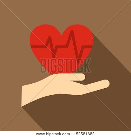 Hand holding red heart icon. Flat illustration of hand holding red heart vector icon for web isolated on coffee background