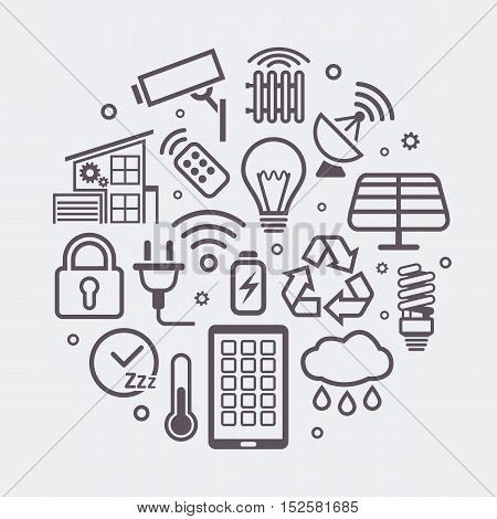Smart Home round illustration, creative technology symbol or innovation background made with outline icons.