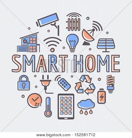Smart Home round illustration, creative technology symbol or web design template.