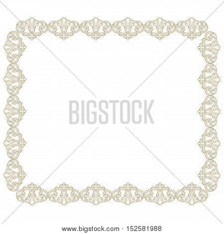 Golden vintage frame, baroque frame, scroll ornament frame, engraving border frame, floral frame, retro frame, pattern frame, antique frame, foliage frame, swirl decorative frame, filigree frame, calligraphy frame. vector