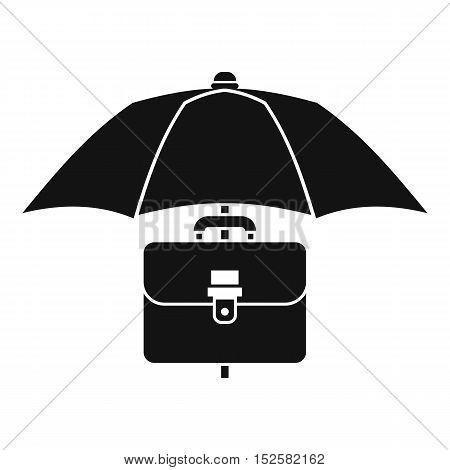Umbrella and business case icon. Simple illustration of umbrella and business case vector icon for web