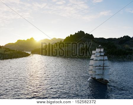 Ship sailing in rough seas close up on sunset background