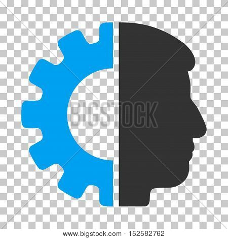 Blue And Gray Android Head interface toolbar pictogram. Vector pictograph style is a flat bicolor symbol on chess transparent background.