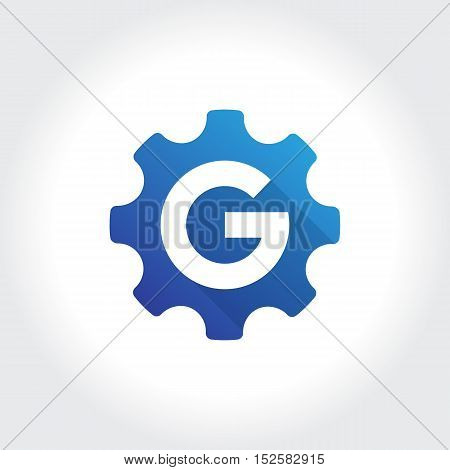 Gears with initial G symbol. Technology Business illustration