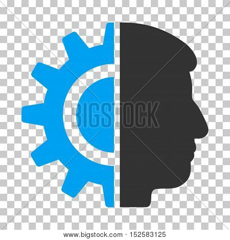 Blue And Gray Android Robotics interface icon. Vector pictograph style is a flat bicolor symbol on chess transparent background.