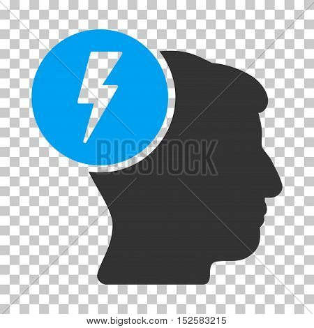 Blue And Gray Brain Electricity interface toolbar icon. Vector pictograph style is a flat bicolor symbol on chess transparent background.