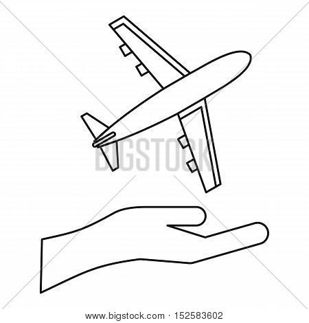 Insurance flights concept icon. Outline illustration of insurance flights concept vector icon for web