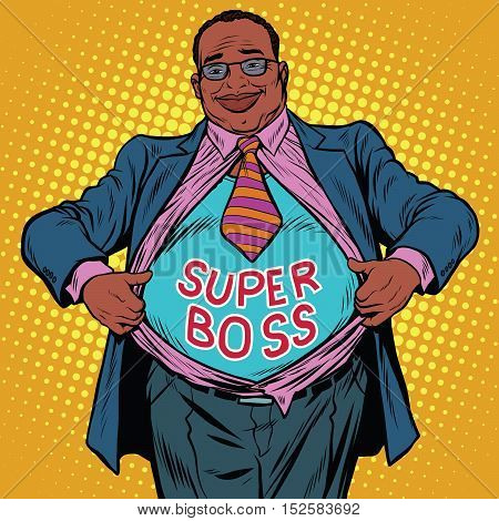 African American businessman super boss, pop art retro vector illustration