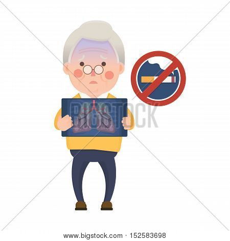 Vector Illustration of Old Man Holding X-ray Image Showing Lung Pulmonary Emphysema Problem and No Smoking Sign, Cartoon Character