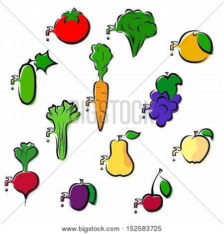 Set of fruits and vegetables icons simplistically painted with a tap from dripping juice