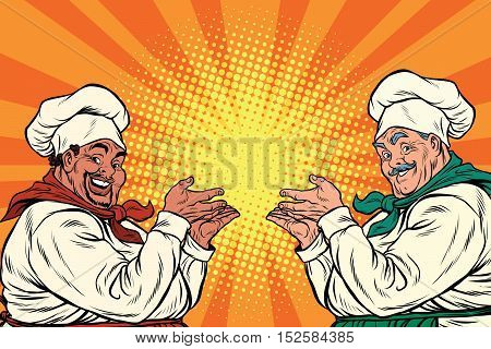 multi-ethnic chefs in the pose of a promoter, pop art retro vector illustration