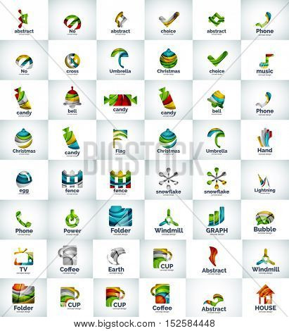 Large collection of abstract geometric logo business icons. Unusual universal colorful web concepts created with waves