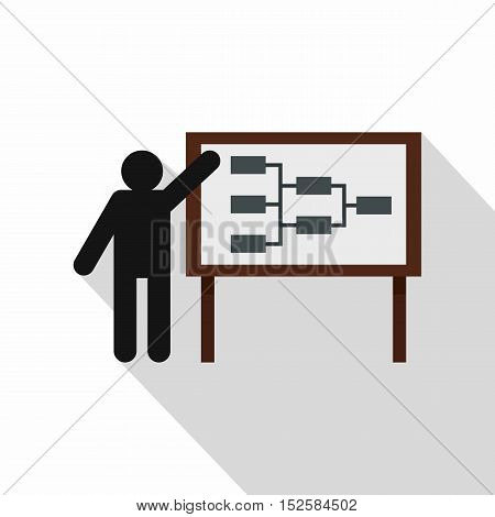 Businessman giving presentation icon. Flat illustration of businessman giving presentation vector icon for web isolated on white background