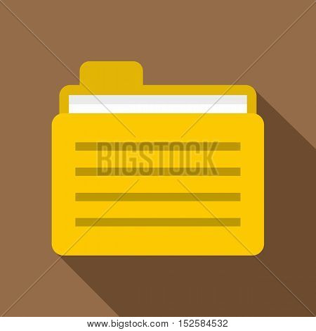 Yellow file folder icon. Flat illustration of yellow file folder vector icon for web isolated on coffee background