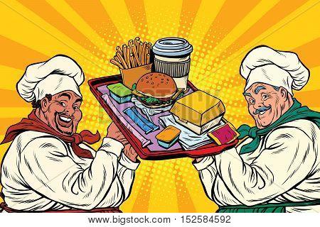 Multi ethnic cooks, fast food, pop art retro vector illustration