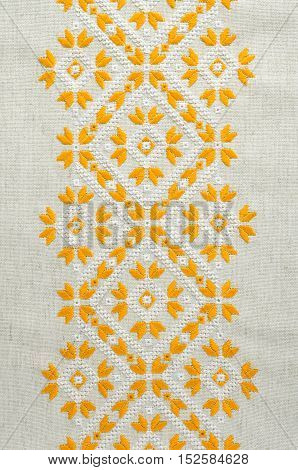 Texture Of The Vintage Homespun Linen Textile With Embroidery. Design Of Ethnic Pattern. Craft Embro