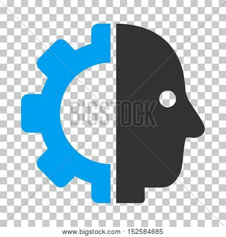 Blue And Gray Cyborg Head interface icon. Vector pictograph style is a flat bicolor symbol on chess transparent background.