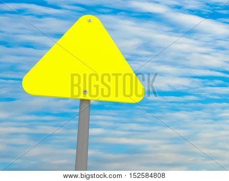 Blank Triangle Yellow Road Sign Against A Cloudy Sky 3d illustration