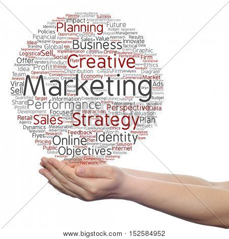 Concept or conceptual business marketing target word cloud in hand isolated on background