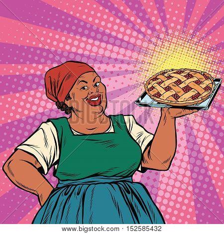 Retro old female African-American berry pie, pop art retro vector illustration