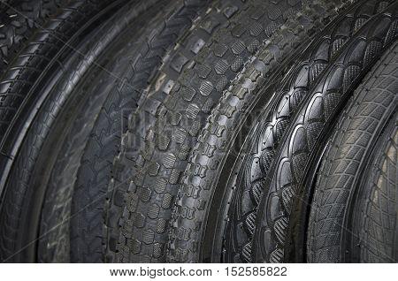 Mountain bike tires closeup. New bike tires