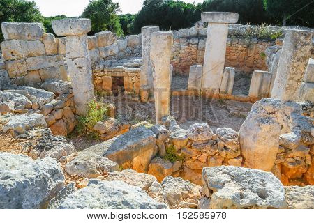 Torre d'en Gaumes (Galmes) - ancient talayotic town ruins at Menorca island, Spain. One of the most visited places of Menorca island.