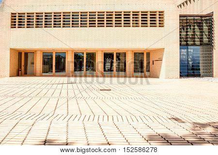Vaduz, Liechtenstein - July 01, 2016: Parliament building in Vaduz, Liechtenstein. This building was designed by Munich architect Hansjorg Goritz in 2008