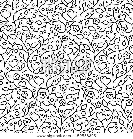 Ornamental floral seamless wallpaper pattern with flowers leaves and hearts for your design