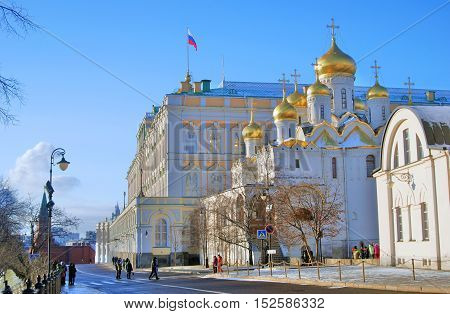 MOSCOW - JANUARY 01 2016: Moscow Kremlin. UNESCO World Heritage Site. Color photo.