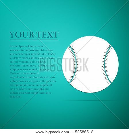 Baseball ball flat icon on blue background. Vector Illustration