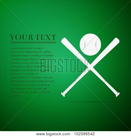 Crossed baseball bats and ball flat icon on green background. Vector Illustration